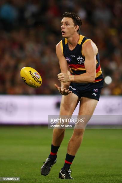 Jake Lever of the Crows passes the ball during the round four AFL match between the Adelaide Crows and the Essendon Bombers at Adelaide Oval on April...