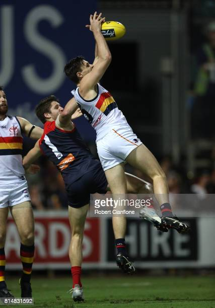 Jake Lever of the Crows takes a mark during the round 17 AFL match between the Melbourne Demons and the Adelaide Crows at TIO Stadium on July 15 2017...