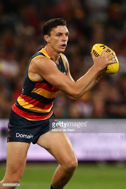 Jake Lever of the Crows wins the ball during the round four AFL match between the Adelaide Crows and the Essendon Bombers at Adelaide Oval on April...