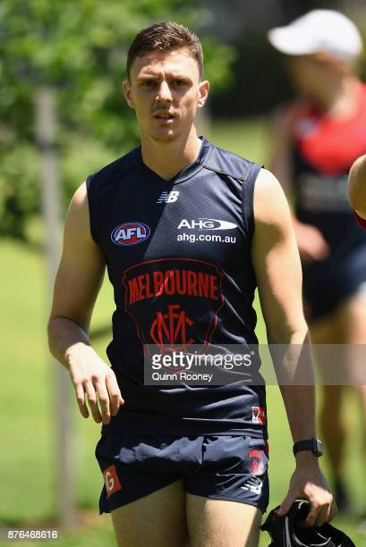 Jake Lever of the Demons arrives for training during a Melbourne Demons AFL preseason training session at Gosch's Paddock on November 20 2017 in...