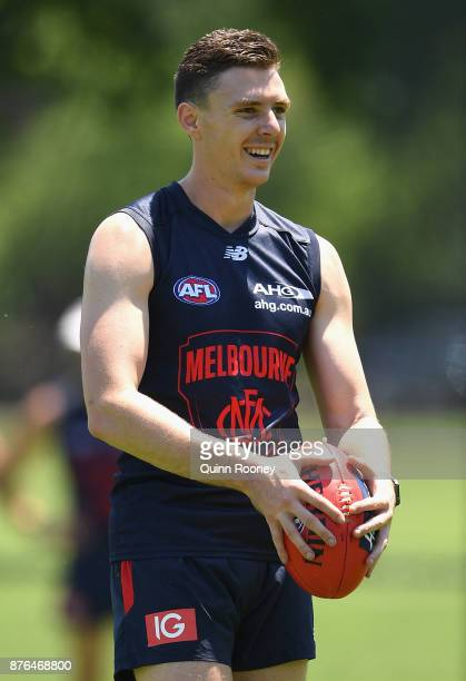 Jake Lever of the Demons chats to team mates during a Melbourne Demons AFL preseason training session at Gosch's Paddock on November 20 2017 in...