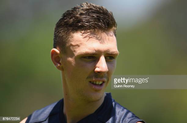 Jake Lever of the Demons looks on during a Melbourne Demons AFL preseason training session at Gosch's Paddock on November 20 2017 in Melbourne...