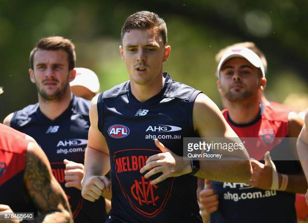Jake Lever of the Demons runs laps with team mates during a Melbourne Demons AFL preseason training session at Gosch's Paddock on November 20 2017 in...