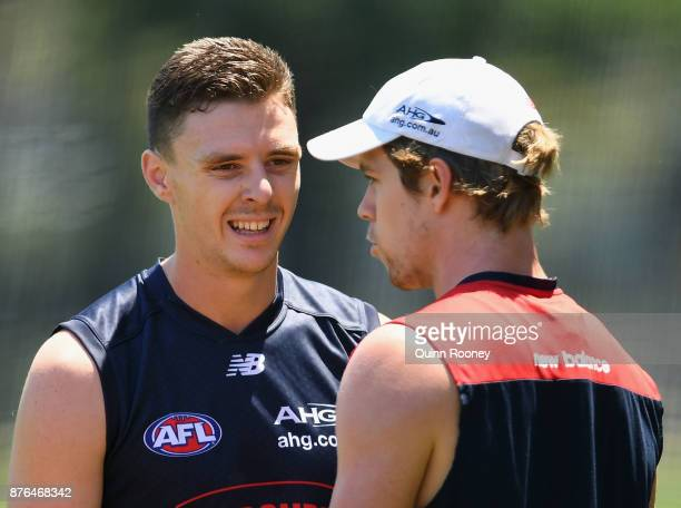 Jake Lever of the Demons speaks to Pat McKenna during a Melbourne Demons AFL preseason training session at Gosch's Paddock on November 20 2017 in...