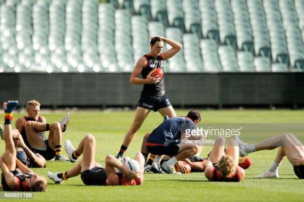 Jake Lever warms up during an Adelaide Crows AFL training session at Adelaide Oval on March 23 2017 in Adelaide Australia