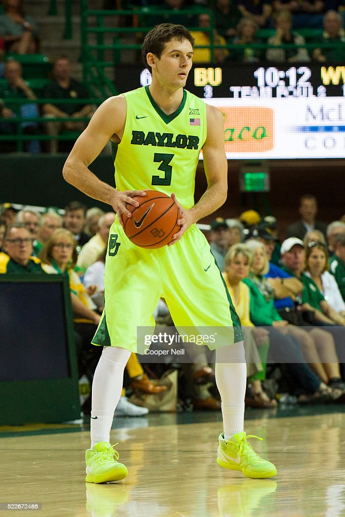 Jake Lindsey of the Baylor Bears brings the ball up court against the West Virginia Mountaineers on March 5 2016 at the Ferrell Center in Waco Texas