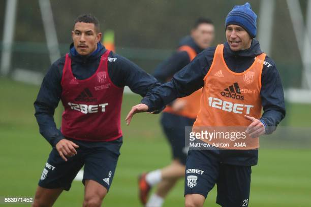 Jake Livermore and Grzegorz Krychowiak of West Bromwich Albion during a West Bromwich Albion Training Session on October 19 2017 in West Bromwich...
