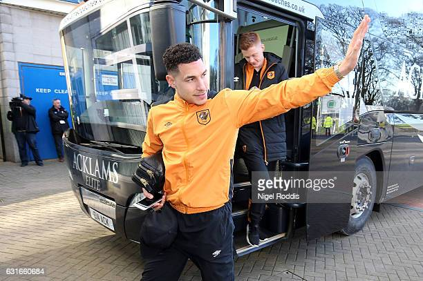 Jake Livermore of Hull City arrives at the stadium prior to the Premier League match between Hull City and AFC Bournemouth at KCOM Stadium on January...