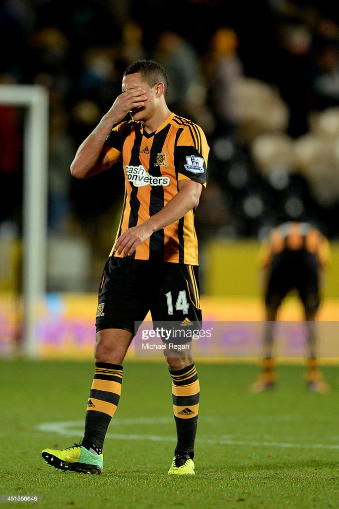Jake Livermore of Hull City looks dejected after the Barclays Premier League match between Hull City and Crystal Palace at KC Stadium on November 23, 2013 in Hull, England.