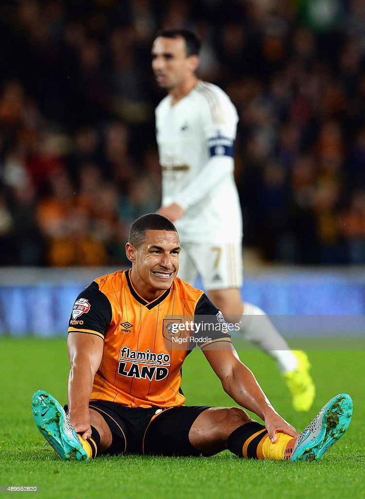 <a gi-track='captionPersonalityLinkClicked' href=/galleries/search?phrase=Jake+Livermore&family=editorial&specificpeople=5985311 ng-click='$event.stopPropagation()'>Jake Livermore</a> of Hull City reacts during the Capital One Cup third round match between Hull City and Swansea City at KC Stadium on September 22, 2015 in Hull, England.