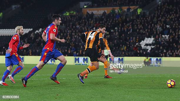 Jake Livermore of Hull City scores their third goal during the Premier League match between Hull City and Crystal Palace at KCOM Stadium on December...