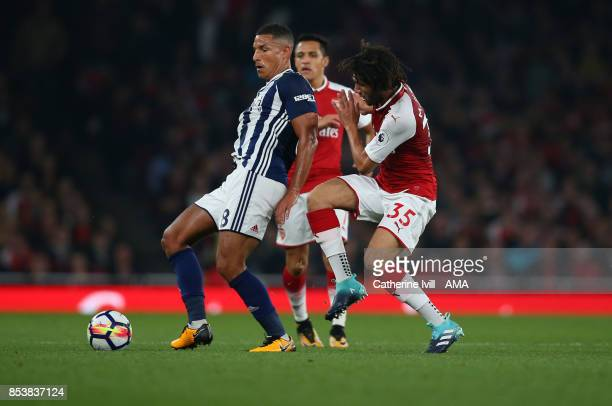 Jake Livermore of West Bromwich Albion and Mohamed Elneny of Arsenal during the Premier League match between Arsenal and West Bromwich Albion at...
