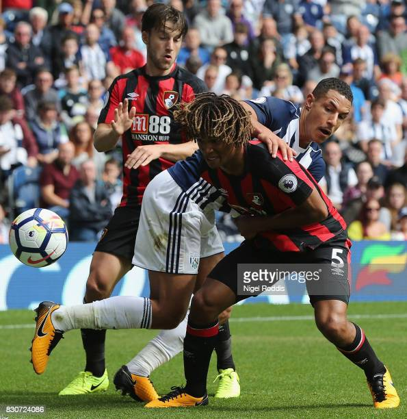 Jake Livermore of West Bromwich Albion and Nathan Ake of AFC Bournemouth battle for the ball during the Premier League match between West Bromwich...