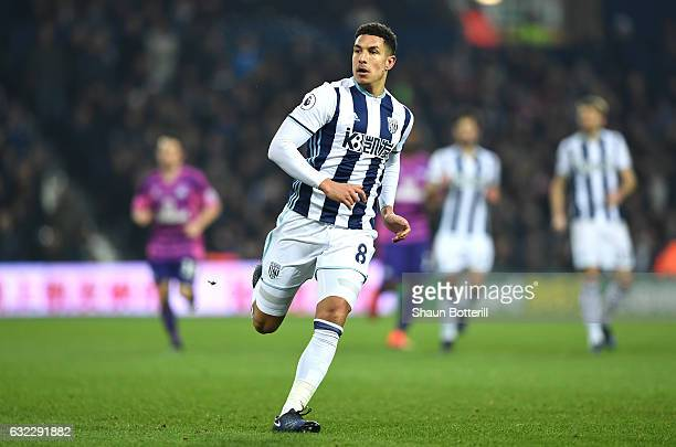 Jake Livermore of West Bromwich Albion in action during the Premier League match between West Bromwich Albion and Sunderland at The Hawthorns on...