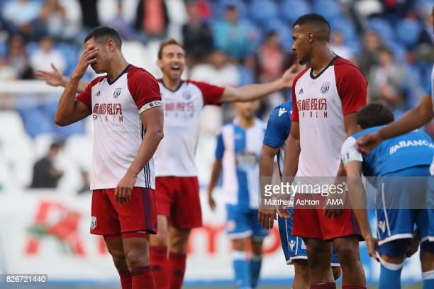 Jake Livermore of West Bromwich Albion reacts after getting sent off during the PreSeason Friendly between Deportivo de La Coruna and West Bromwich...
