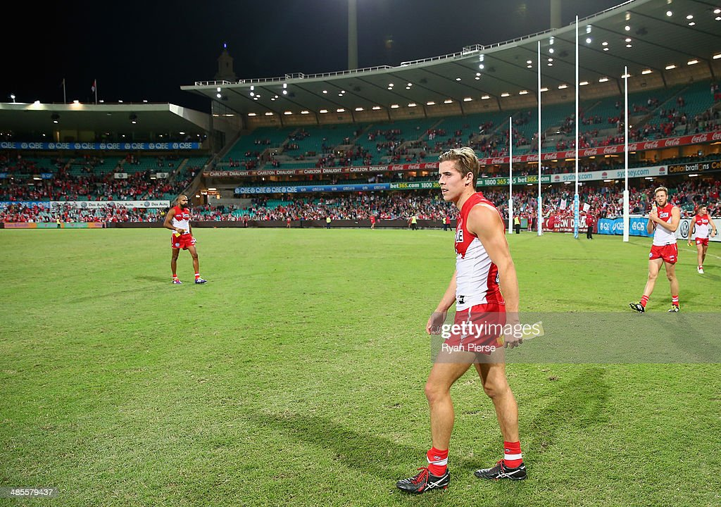<a gi-track='captionPersonalityLinkClicked' href=/galleries/search?phrase=Jake+Lloyd&family=editorial&specificpeople=1547864 ng-click='$event.stopPropagation()'>Jake Lloyd</a> of the Swans celebrates after his first AFL match, the round five AFL match between the Sydney Swans and the Fremantle Dockers at Sydney Cricket Ground on April 19, 2014 in Sydney, Australia.