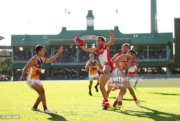 Jake Lloyd of the Swans competes for the ball during the round seven AFL match between the Sydney Swans and the Brisbane Lions at Sydney Cricket...