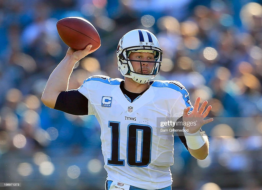 Jake Locker #10 of the Tennessee Titans attempts a pass during the game against the Jacksonville Jaguars at EverBank Field on November 25, 2012 in Jacksonville, Florida.