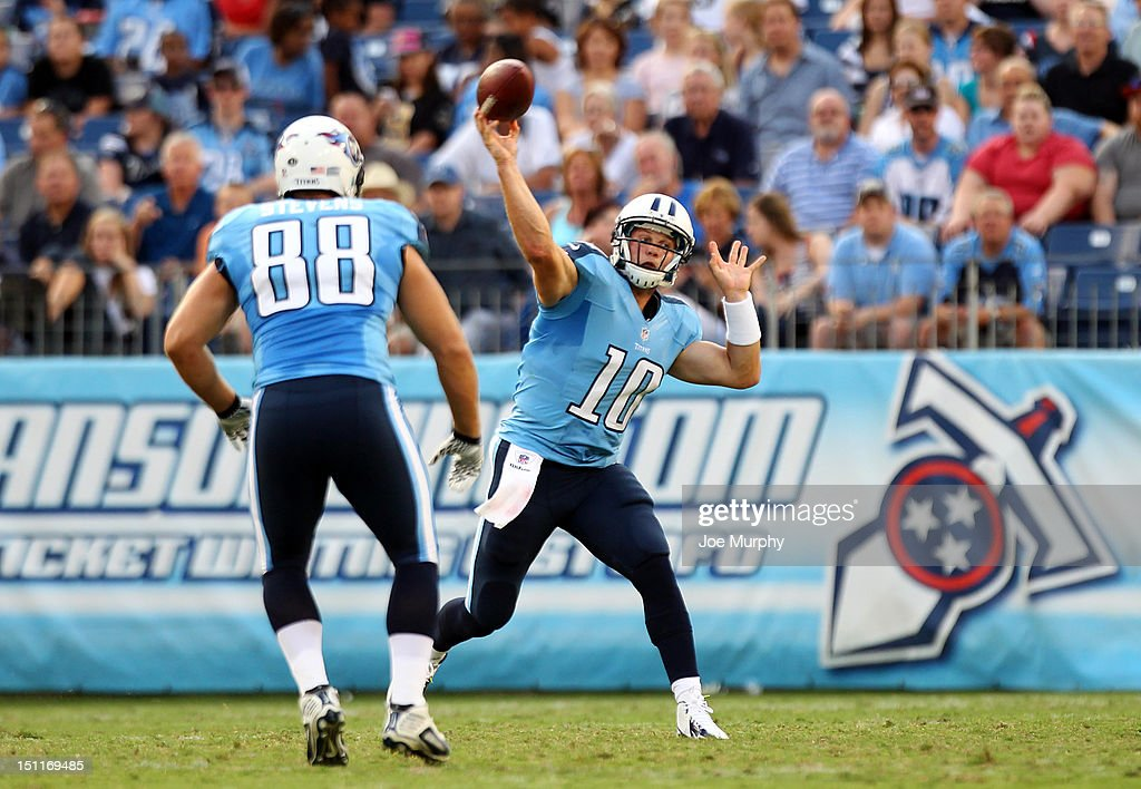 <a gi-track='captionPersonalityLinkClicked' href=/galleries/search?phrase=Jake+Locker&family=editorial&specificpeople=4450185 ng-click='$event.stopPropagation()'>Jake Locker</a> #10 of the Tennessee Titans passes against the New Orleans Saints at LP Field on August 30, 2012 in Nashville, Tennessee.