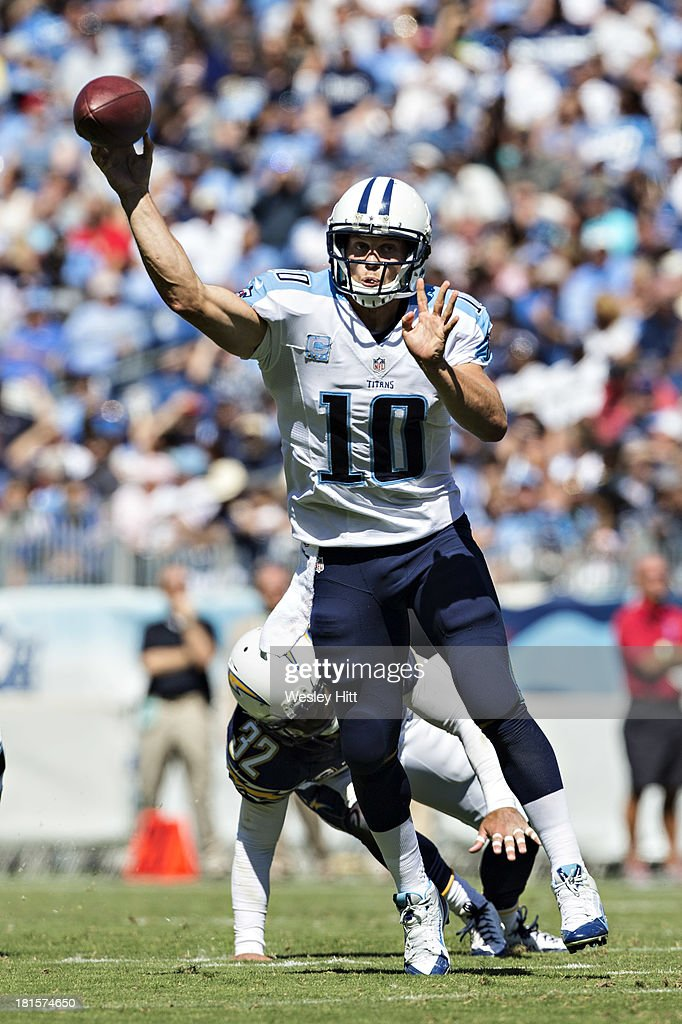 <a gi-track='captionPersonalityLinkClicked' href=/galleries/search?phrase=Jake+Locker&family=editorial&specificpeople=4450185 ng-click='$event.stopPropagation()'>Jake Locker</a> #10 of the Tennessee Titans throws a pass against the San Diego Chargers at LP Field on September 22, 2013 in Nashville, Tennessee. The Titans defeated the Chargers 20-17.