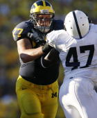 Jake Long of the Michigan Wolverines blocks against the Penn State Nittany Lions on September 22 2007 at Michigan Stadium in Ann Arbor Michigan
