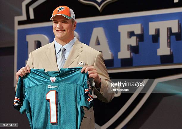 Jake Long poses for a photo after being taken as the fisrt overall draft pick by the Miami Dolphins during the 2008 NFL Draft on April 26 2008 at...