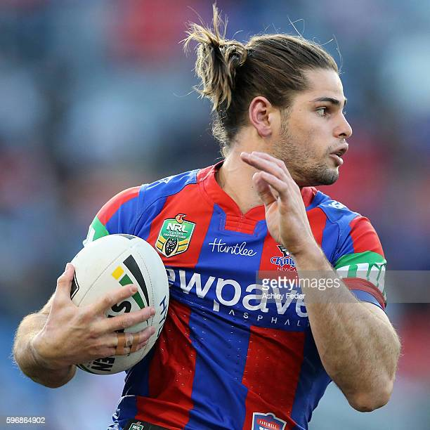 Jake Mamo of the Knights during the round 25 NRL match between the Newcastle Knights and the South Sydney Rabbitohs at Hunter Stadium on August 28...