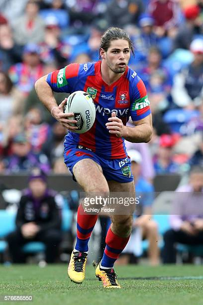 Jake Mamo of the Knights in action during the round 19 NRL match between the Newcastle Knights and the Melbourne Storm at Hunter Stadium on July 17...