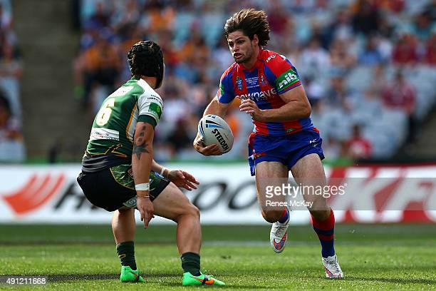 Jake Mamo of the Knights makes a break during the 2015 State Championship Grand Final match between Ipswich Jets and the Newcastle Knights at ANZ...