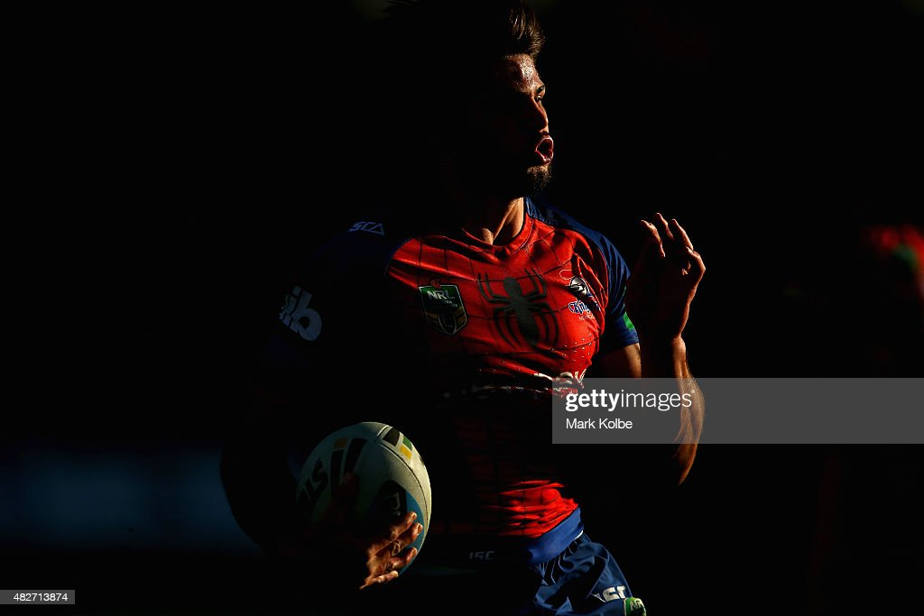 Jake Mamo of the Knights runs the ball during the round 21 NRL match between the St George Illawarra Dragons and the Newcastle Knights at WIN Jubilee Stadium on August 2, 2015 in Sydney, Australia.
