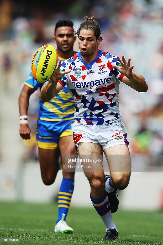 Jake Mamo of the Newcastle Knights chases the ball down during the 2016 Auckland Nines quarter final match between the Parramatta Eels and the Newcastle Knights at Eden Park on February 7, 2016 in Auckland, New Zealand.