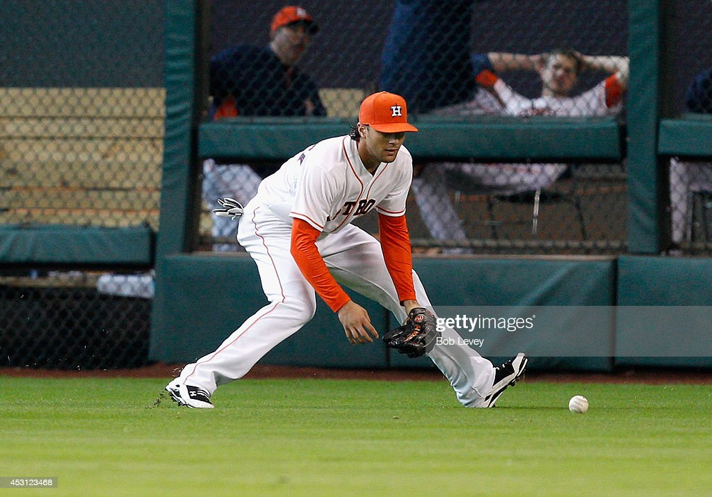 <a gi-track='captionPersonalityLinkClicked' href=/galleries/search?phrase=Jake+Marisnick&family=editorial&specificpeople=10507748 ng-click='$event.stopPropagation()'>Jake Marisnick</a> #6 of the Houston Astros fields a ball against the Toronto Blue Jays at Minute Maid Park on August 3, 2014 in Houston, Texas.