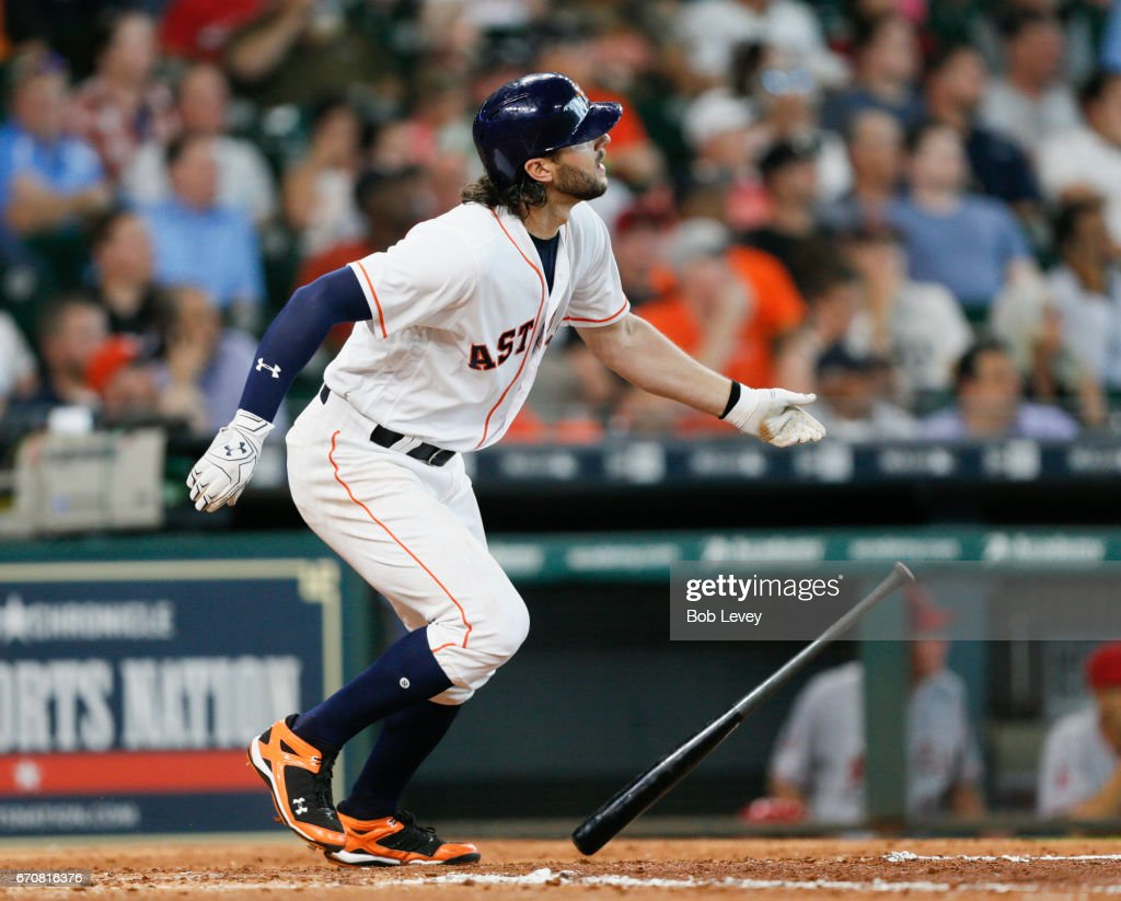 Jake Marisnick #6 of the Houston Astros hits a home run in the fifth inning against the Los Angeles Angels of Anaheim at Minute Maid Park on April 20, 2017 in Houston, Texas.