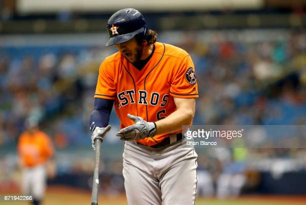 Jake Marisnick of the Houston Astros reacts after striking out swinging to pitcher Matt Andriese of the Tampa Bay Rays during the *** inning of a...