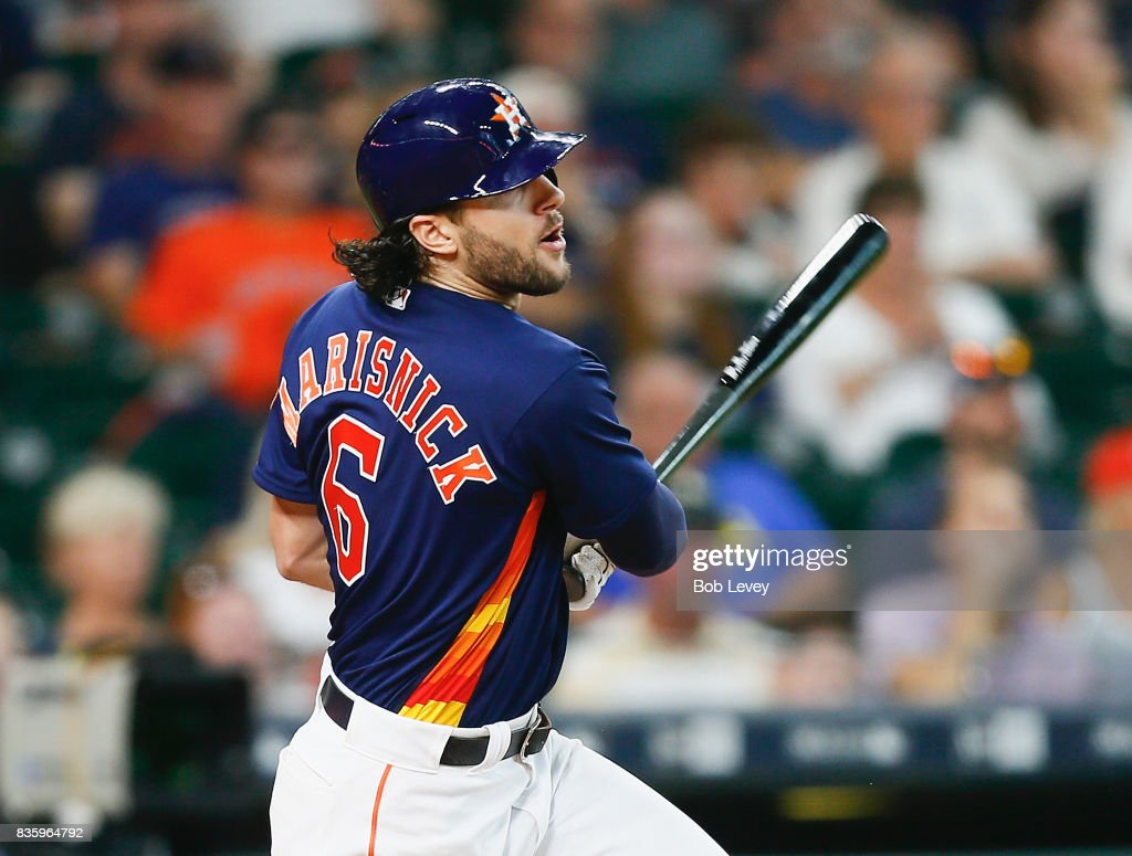 Jake Marisnick #6 of the Houston Astros singles in the seventh inning against the Oakland Athletics at Minute Maid Park on August 20, 2017 in Houston, Texas.