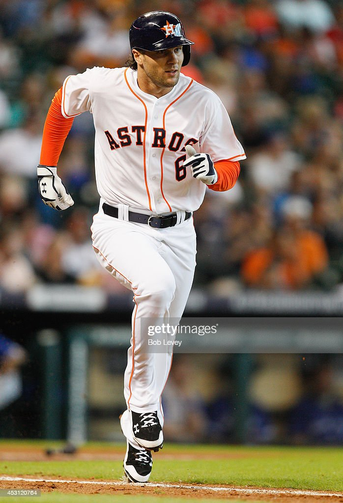 <a gi-track='captionPersonalityLinkClicked' href=/galleries/search?phrase=Jake+Marisnick&family=editorial&specificpeople=10507748 ng-click='$event.stopPropagation()'>Jake Marisnick</a> #6 of the Houston Astros singles in the third inning against the Toronto Blue Jays at Minute Maid Park on August 3, 2014 in Houston, Texas.