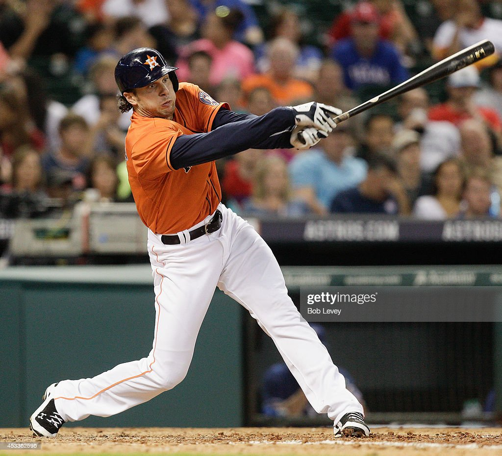 <a gi-track='captionPersonalityLinkClicked' href=/galleries/search?phrase=Jake+Marisnick&family=editorial&specificpeople=10507748 ng-click='$event.stopPropagation()'>Jake Marisnick</a> #6 of the Houston Astros strikes out in the sixth inning against the Texas Rangers at Minute Maid Park on August 8, 2014 in Houston, Texas.