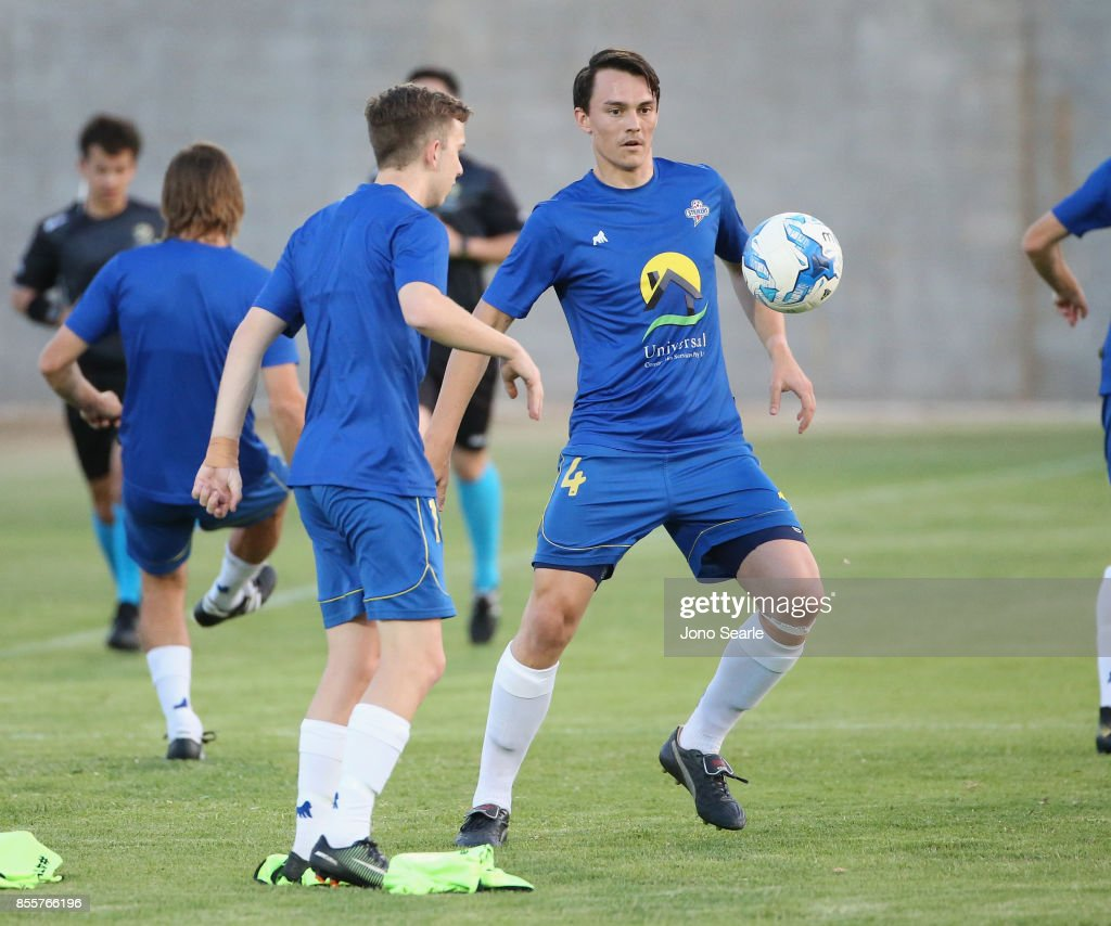 Jake Marshall of the Strikers warms-up ahead of the National Premier Leagues Grand Final match between the Brisbane Strikers and Heidelberg United FC at Perry Park on September 30, 2017 in Brisbane, Australia.