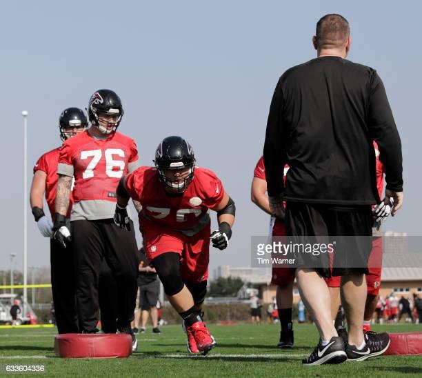 Jake Matthews of the Atlanta Falcons runs a drill during the Super Bowl LI practice on February 2 2017 in Houston Texas
