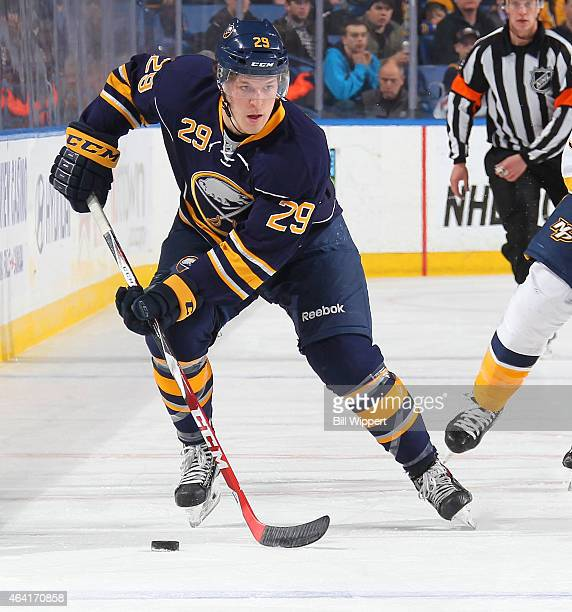 Jake McCabe of the Buffalo Sabres skates against the Nashville Predators on February 22 2015 at the First Niagara Center in Buffalo New York...