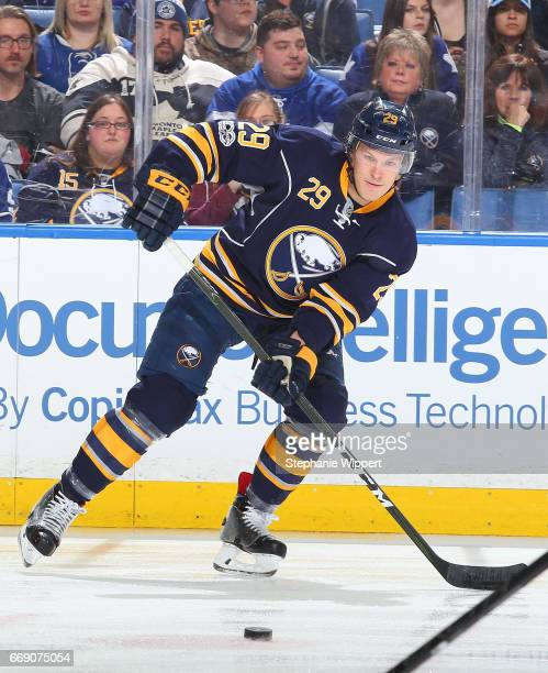 Jake McCabe of the Buffalo Sabres skates against the Toronto Maple Leafs during an NHL game at the KeyBank Center on April 3 2017 in Buffalo New York