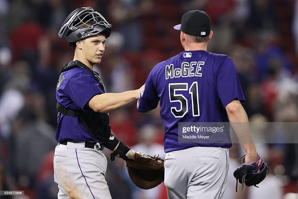 <a gi-track='captionPersonalityLinkClicked' href=/galleries/search?phrase=Jake+McGee+-+Honkballer&family=editorial&specificpeople=15096866 ng-click='$event.stopPropagation()'>Jake McGee</a> #51 of the Colorado Rockies and Dustin Garneau #13 celebrate after defeating the Boston Red Sox 8-2 at Fenway Park on May 26, 2016 in Boston, Massachusetts.