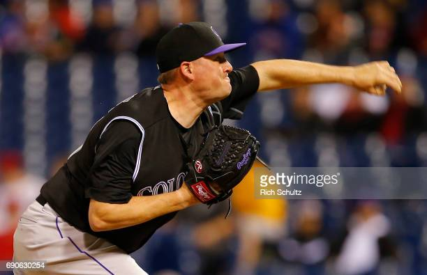 Jake McGee of the Colorado Rockies in action against the Philadelphia Phillies during a game at Citizens Bank Park on May 24 2017 in Philadelphia...