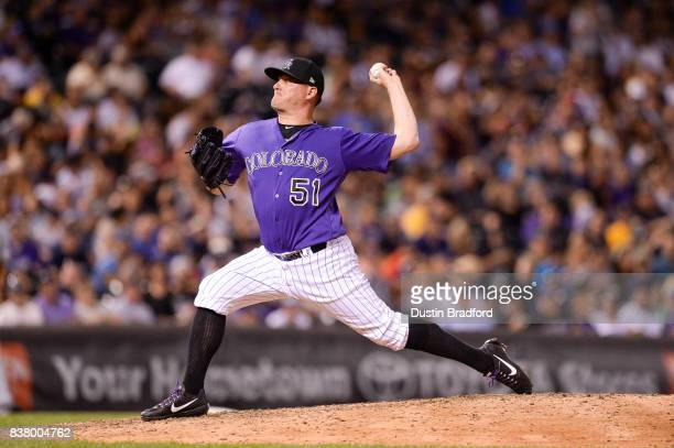 Jake McGee of the Colorado Rockies pitches against the Milwaukee Brewers at Coors Field on August 18 2017 in Denver Colorado