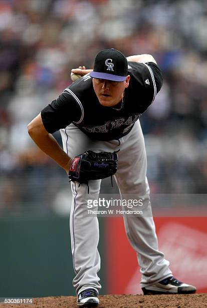 Jake McGee of the Colorado Rockies pitches against the San Francisco Giants in the bottom of the tenth inning at ATT Park on May 7 2016 in San...