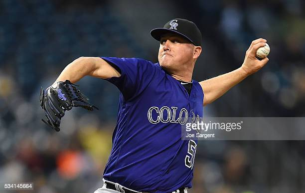 Jake McGee of the Colorado Rockies pitches during the game against the Pittsburgh Pirates on May 21 2016 at PNC Park in Pittsburgh Pennsylvania