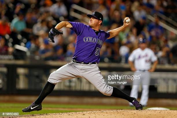 Jake McGee of the Colorado Rockies pitches during the seventh inning against the New York Mets at Citi Field on July 15 2017 in the Flushing...