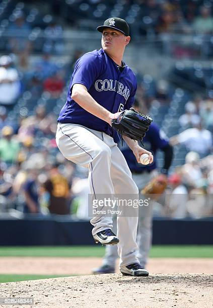 Jake McGee of the Colorado Rockies plays during a baseball game against the San Diego Padres at PETCO Park on May 4 2016 in San Diego California
