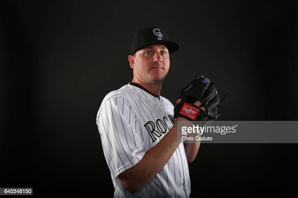 Jake McGee of the Colorado Rockies poses for a portrait during photo day at Salt River Fields at Talking Stick on February 23 2017 in Scottsdale...