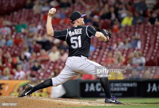 Jake McGee of the Colorado Rockies throws a pitch in the ninth inning against the Cincinnati Reds at Great American Ball Park on May 19 2017 in...